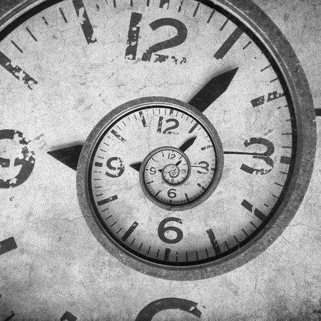 Vintage infinity clock. Time concept cracked background.