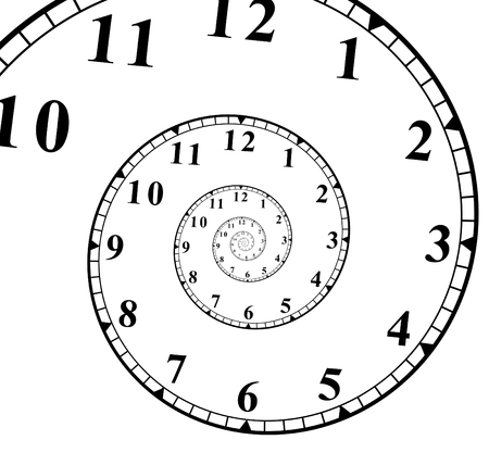 clock face with a spiral effect representing the infinite spiral of time.
