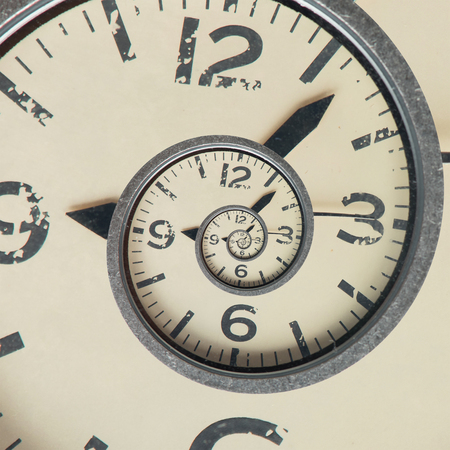 recursive: Close up of Vintage infinity clock. Time concept. Stock Photo