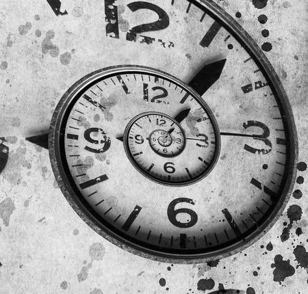 recursive: Twisted clock face close up. infinite time concept