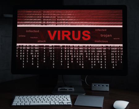 programa de virus informático en una pantalla de monitor