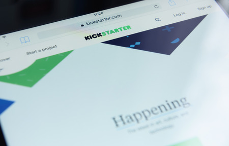 raiser: Moscow, RUSSIA - September 15, 2016: Photo of Kickstarter homepage on ipad screen. Kickstarter is a crowdfunding platform.