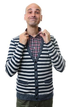 funny man wearing stylish clothes enjoying himself. Isolated on white background Stock Photo