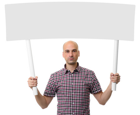 protest sign: Man holding protest sign. Demonstration concept. Isolated over white background Stock Photo