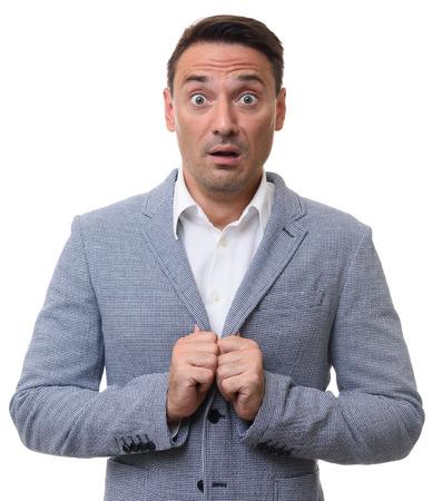 anguished: frightened guy. Shocked business man. isolated on white background