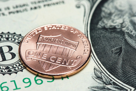 us coin: US coin and banknote. One cent close up