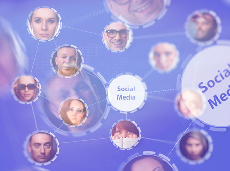 Social network concept. Abstract technology background photo