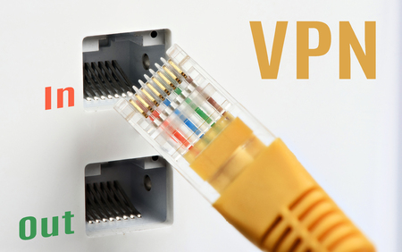 Virtual Private Network concept. VPN Technology. Ethernet cable