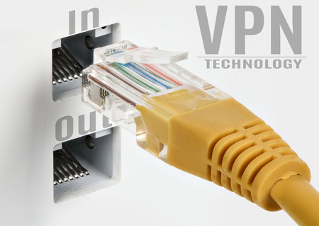 VPN technology concept. Safety network. Ethernet cable
