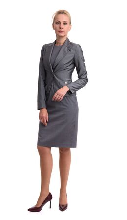 full length portrait of a business woman. Isolated on white