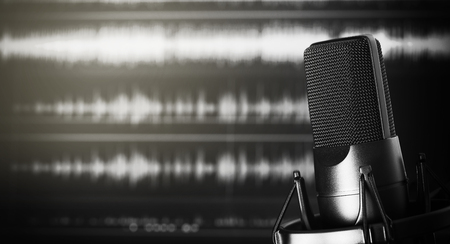 professional microphone in a recording studio with copy space