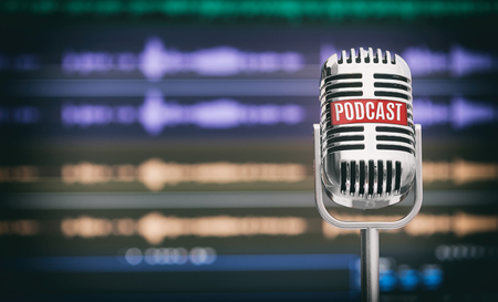 Home Podcast Studio. Microphone with a podcast icon on a table Stock Photo