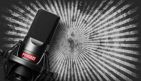 studio microphone with a podcast icon over grunge background Stock Photo