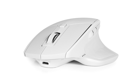 modern wireless ergonomic computer mouse isolated on white background with clipping path