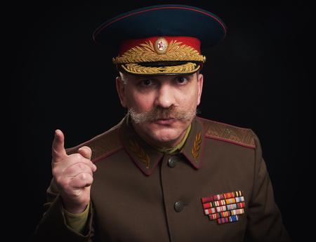 Retrato de parodia de un general militar ruso Foto de archivo