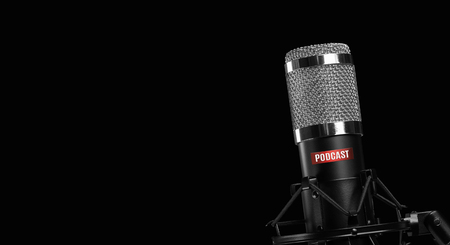 professional microphone isolated on black background. Podcast concept