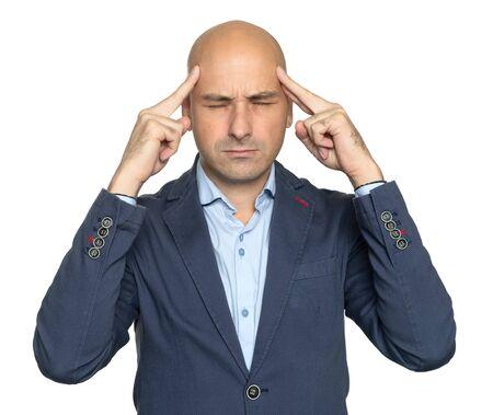 Bald man is having a headache isolated on white Reklamní fotografie