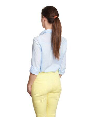 Rückansicht der Frau. Isoliert auf weißem Hintergrund Standard-Bild