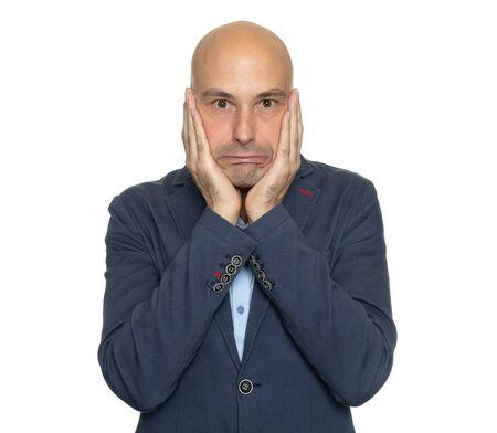 Shocked bald man isolated on white background Reklamní fotografie
