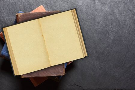 Open old blank book. Vintage style. Top view Stockfoto