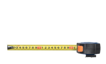 Yellow Measuring Tape isolated on white. Top view with clipping path Reklamní fotografie