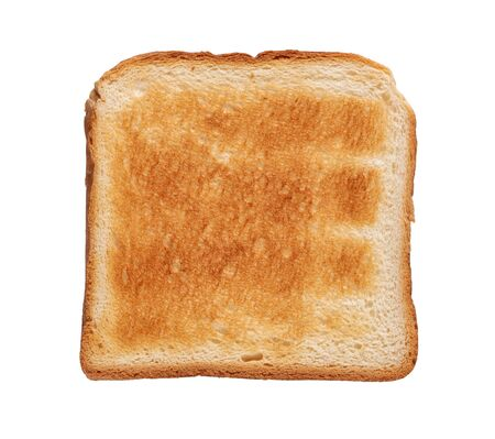 Toasted white bread slice. Isolated on white background. Top view