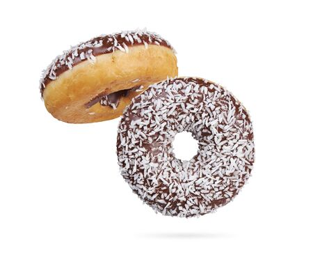 Chocolate donut with coconut sprinkles. doughnut isolated on white Stockfoto