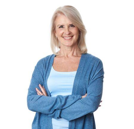 portrait of beautiful older woman smiling. Isolated. Happy senior lady Stockfoto