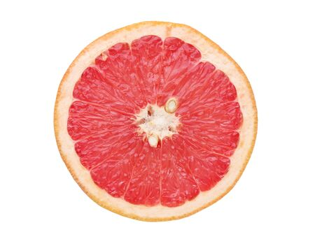 Pink ripe grapefruit slice isolated on white background. Top view