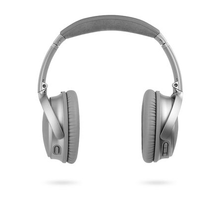 modern silver wireless headphones isolated on white background