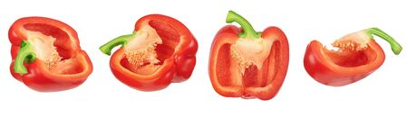 sweet red pepper slice isolated on white background with clipping path Imagens