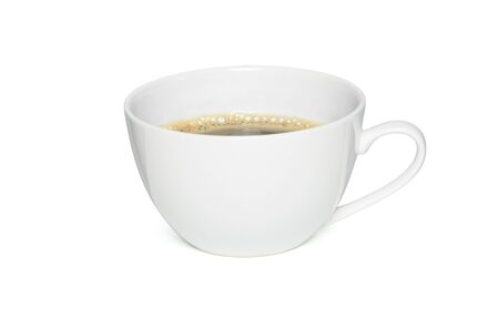 cup of black coffee isolated on white background, Side view with clipping path Banque d'images