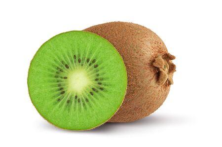whole and slice of kiwi fruit isolated on white background Reklamní fotografie