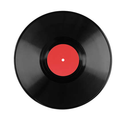 lp vinyl record blank label isolated on white background.
