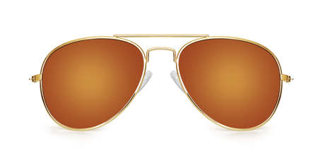 brown aviator sunglasses isolated on white background