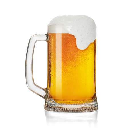 Mug of beer froth foam isolated on a white background