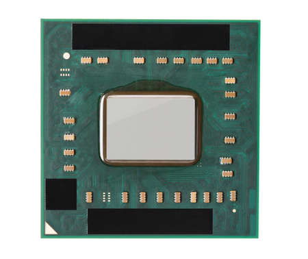 Computer cpu top view. Microprocessor isolated on white background