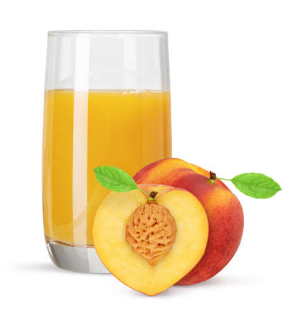 Glass of peach juice with fruit isolated on white background