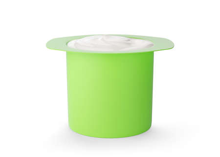 Mockup of green plastic cup with yogurt isolated on white background
