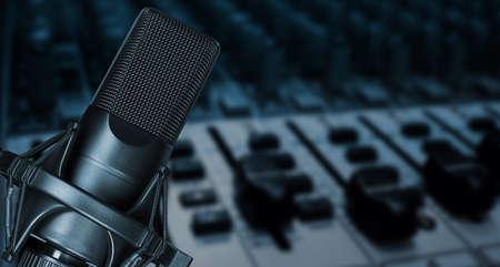 Professional studio microphone in record studio. Recording podcast or voice