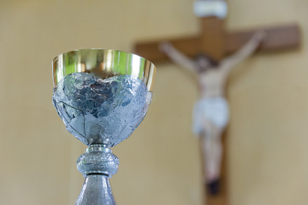 chalices: Chalices,Jesus blurred background Stock Photo