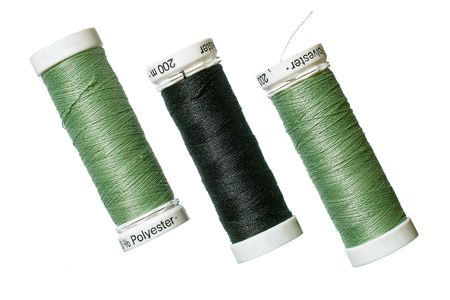 Spun polyester sewing thread Stock Photo