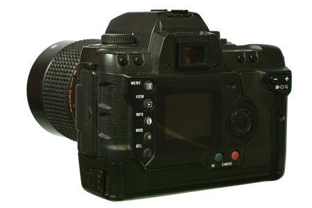 electronic balance: Digital  SLR camera with mirror lens. Isolated image on white background.