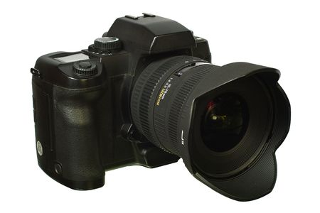 Digital single-lens reflex camera with wide lens. Isolated image on white background. Stock Photo - 2523317