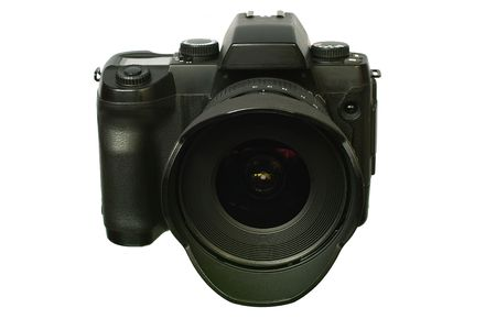 Digital single-lens reflex camera with wide lens. Isolated image on white background. photo