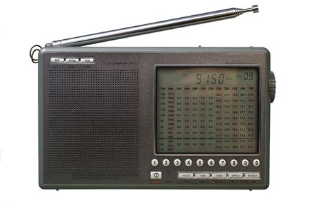 tune: Radio front view. Isolated image on white background.