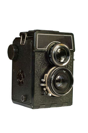 Old two lens medium format camera. Isolated image on white background. photo