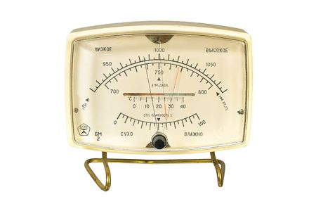 aneroid: Household aneroid barometer hygrometer thermometer. Isolate image on white background.