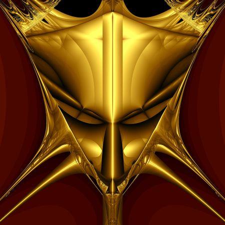Golden demon mask on black background. Computer generated image photo