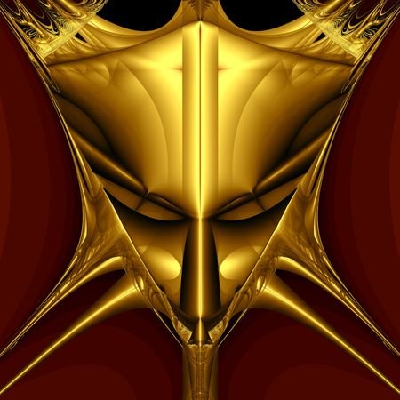 Golden demon mask on black background. Computer generated image